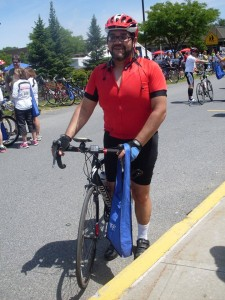 Victor at the end of his race. Putnam Hill