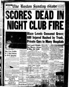 The Boston Sunday Globe covers the tragic Cocoanut Grove Fire, November 29, 1942 - OP-GHO: Operation Ghost
