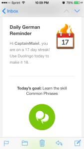 Screen cap of the Duolingo language learning app. - So you want to learn German