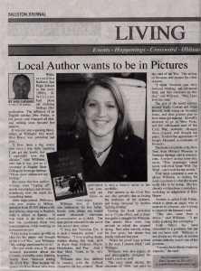 Local Author Wants to Be In Pictures by Sam Capuano for The Ballston Journal - A writer's journey