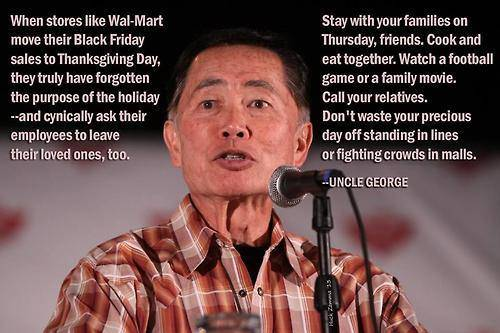 Uncle George (George Takei) speaks against retail greed during the holidays, and the harm it causes the average worker. - Christmas Greed