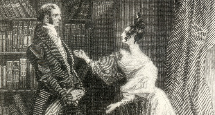 IMAGE: Elizabeth tells her father that Darcy was responsible for uniting Lydia and Wickham, engraving from Pride and Prejudice, by Jane Austen, 1833. - Jane Austen