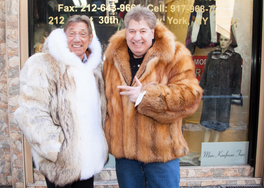Joe Namath (shown here with Marc Kaufman) wearing his Marc Kaufman Furs custom coyote coat http://kaufmanfurs.net/index.php?page_id=41&slider=1 - Endangered Wolves