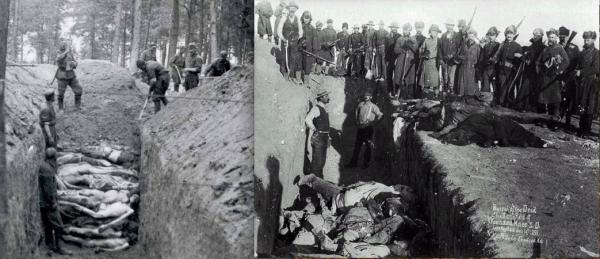 Left: jpelligrino.com; Right: Public Domain Left, Nazis stand before a mass grave of victims of the Jewish Holocaust; right: U.S. soldiers pose for a picture near a mass grave of dead Lakotas following the Wounded Knee Massacre of December 29, 1890. - Hitler Inspired by U.S.