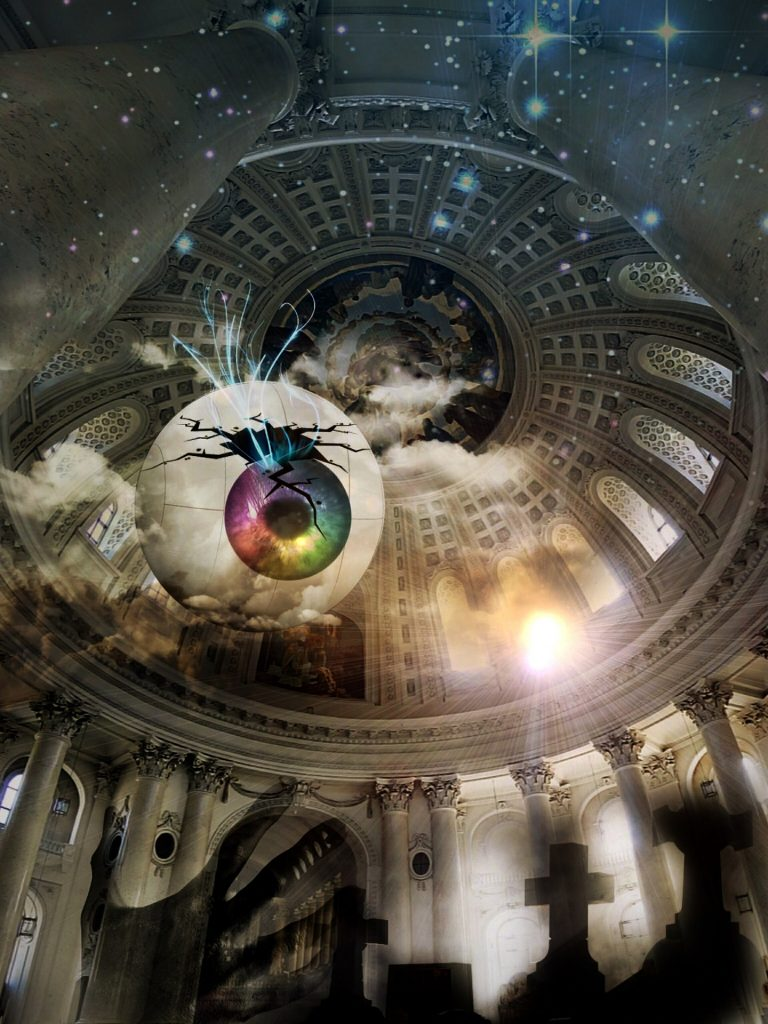 Interior of a cathedral dome is superimposed with a night sky and graveyard. A broken rainbow iris eye stares down as a hand reaches up, Deadly Sins Writing, book boss