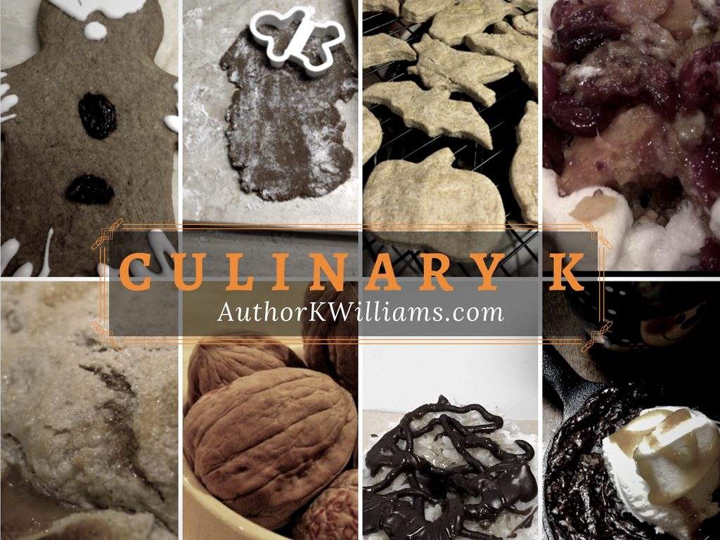 Culinary k header with images of food by K. Williams - cookies, dog treats, pies, walnuts, brownie skillet, yams...fruit recipe