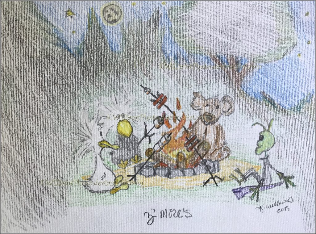 Zo Duck, Zak Goose, Bear, and Alex the Alien sit around the campfire at eveningtide to toast some marshmallows and roast some dogs. Z'mores.