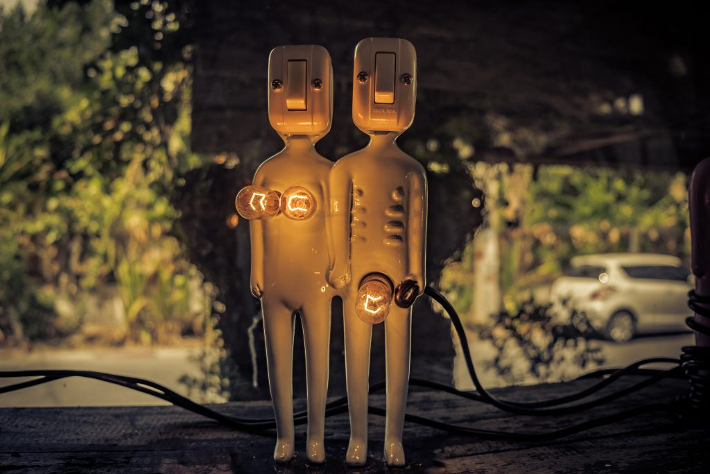 gender dolls with light bulbs for sexual parts