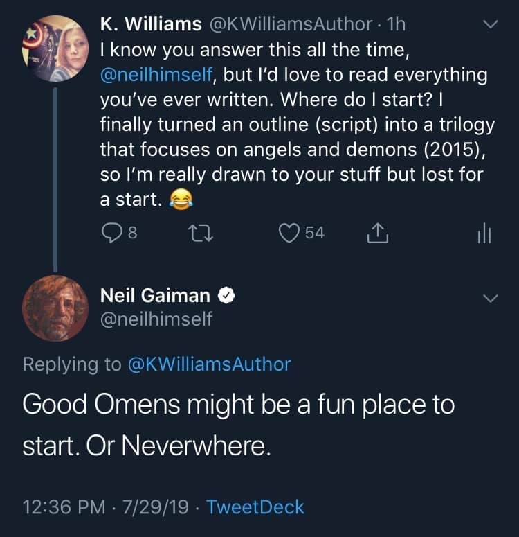 Tweet from Author K. Williams to Neil Gaiman with his response.