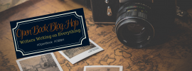 open book blog hop photography ad, camera with photos on a vintage map
