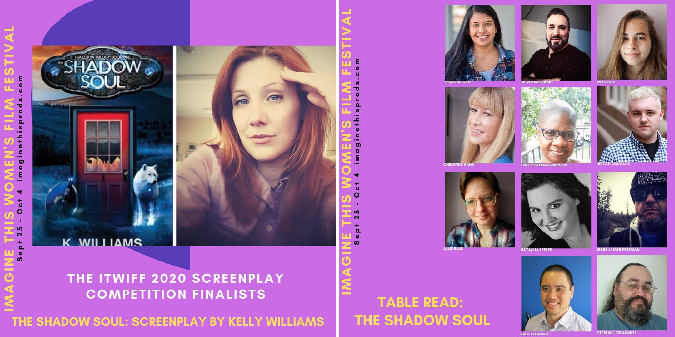 Image of K.Williams and the Shadow Soul Book, second image of cast of table reading of the shadow soul