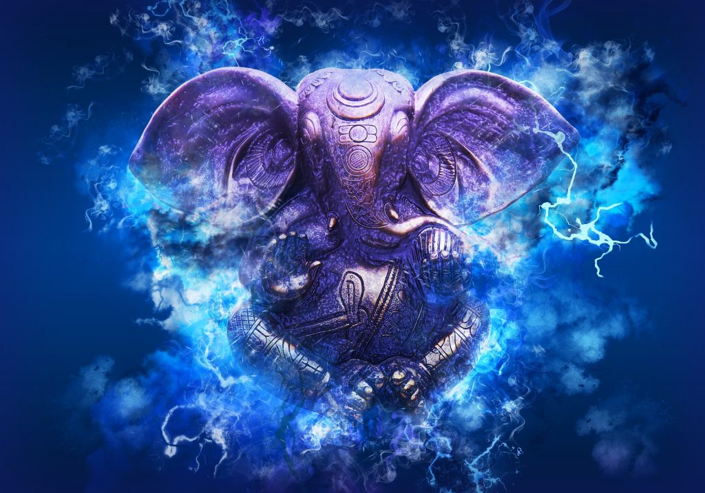 Lord Ganesha surrounded by blue power