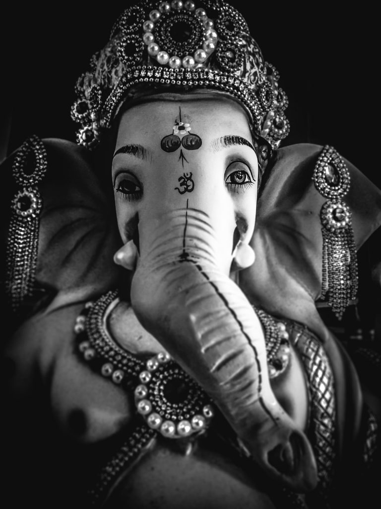Lord Ganesha black and white face