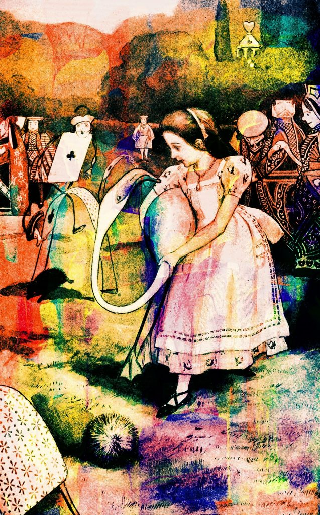 vintage alice in wonderland illustration stained in rainbow watercolors, alice plays croquet